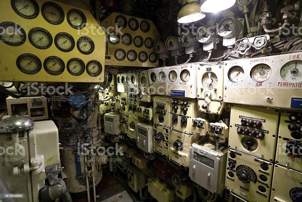Russian submarine interior stock photo