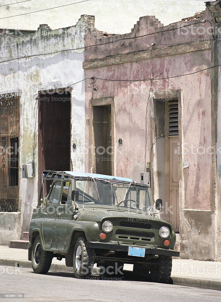Russian SUV on Havana street royalty-free stock photo