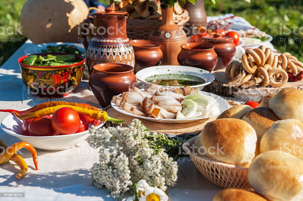 Russian table with food stock photo