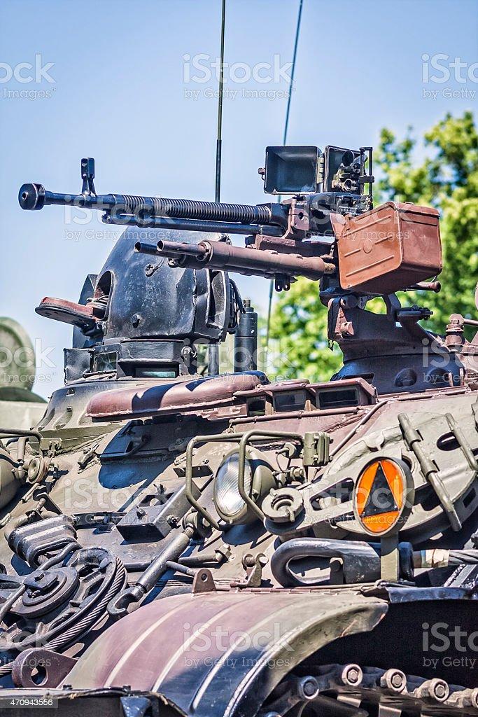 Russian tank machine gun stock photo