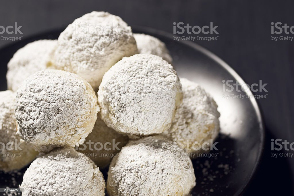 Russian Tea Cakes, Mexican Wedding Cookies or Hazelnut Balls stock photo