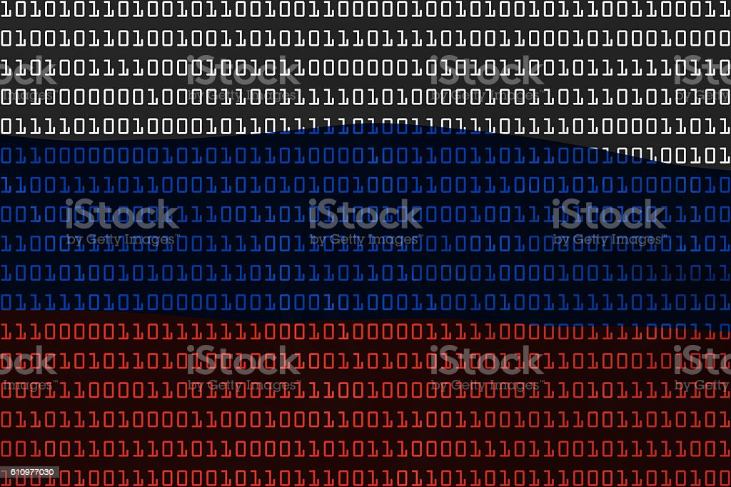 Russian Technology Concept - Flag of Russia in Binary Code stock photo