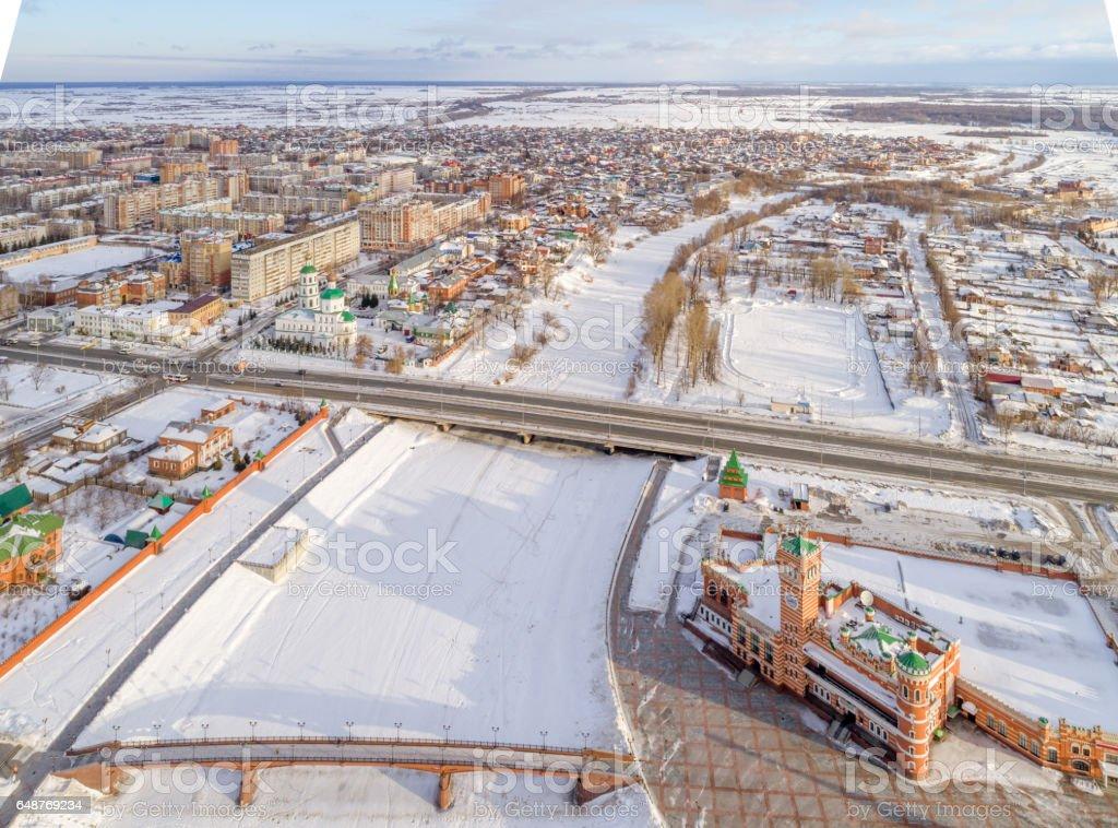 Russian Town Yoshkar-Ola. Bridges Over River stock photo