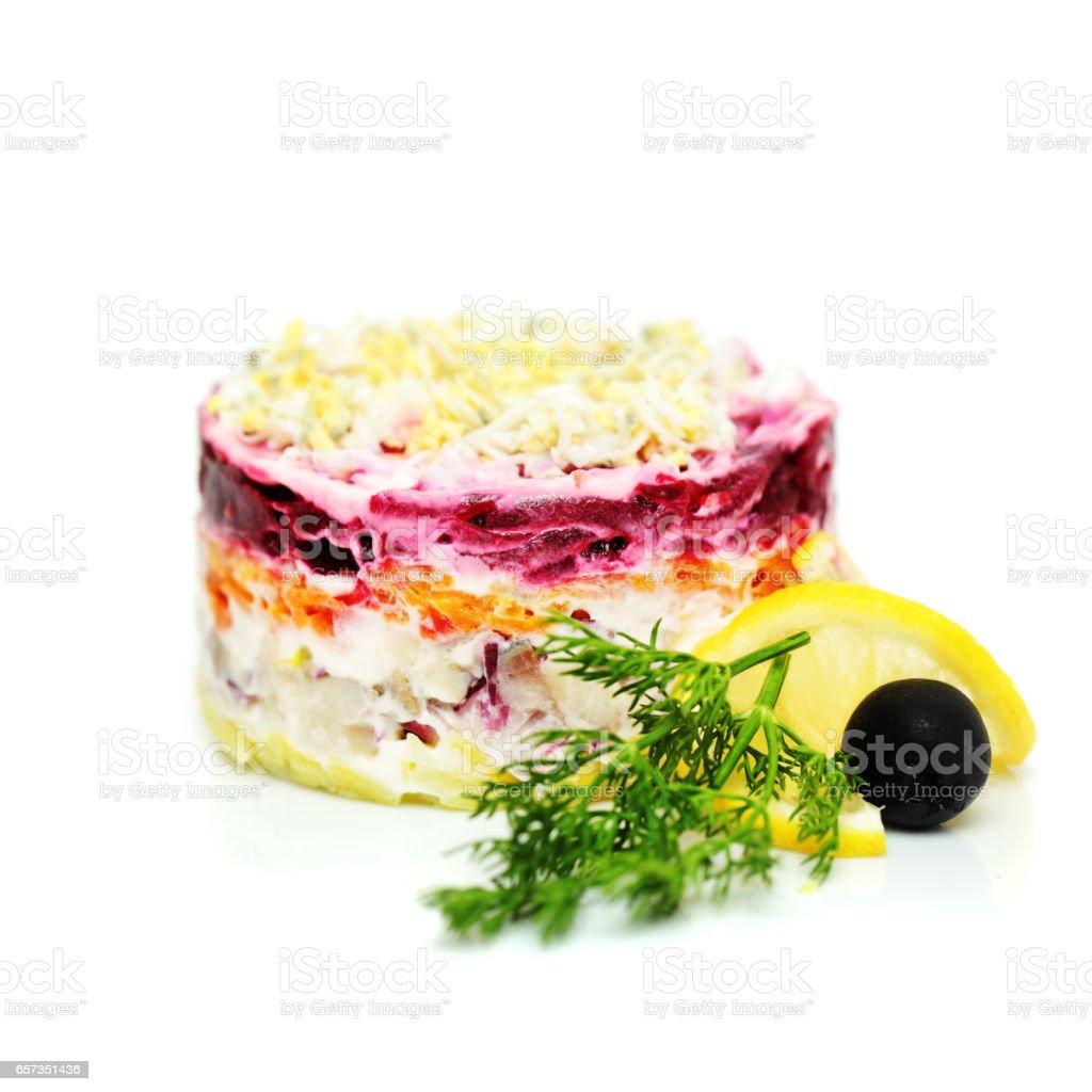 Russian Traditional Cuisine Salad, Dressed Herring under Coat stock photo