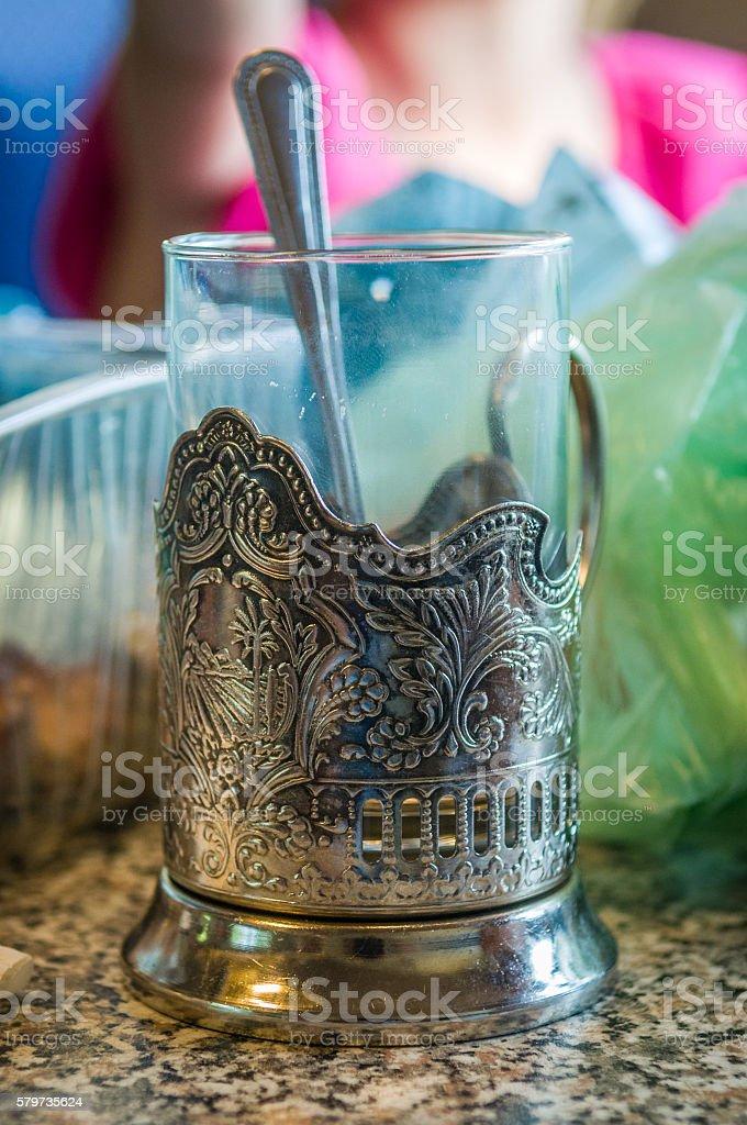 Russian traditional glass holder Podstakannik stock photo