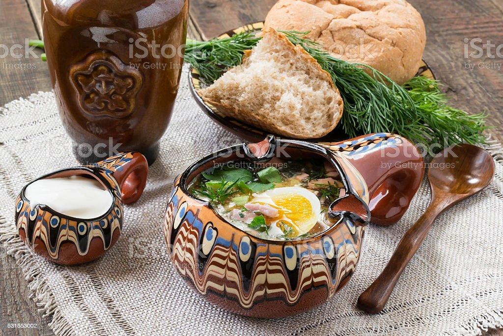 Russian traditional okroshka with kvass stock photo