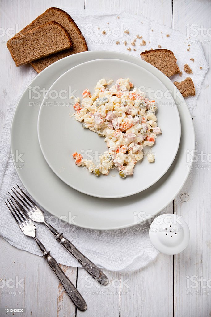 Russian traditional salad olivier stock photo