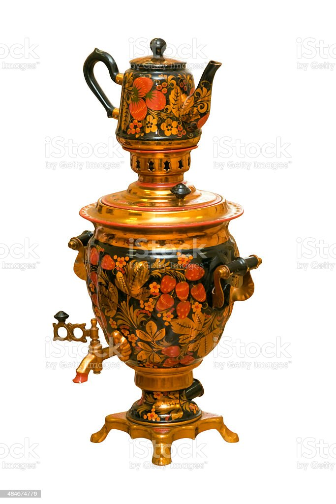 russian traditional samovar and teapot isolated stock photo