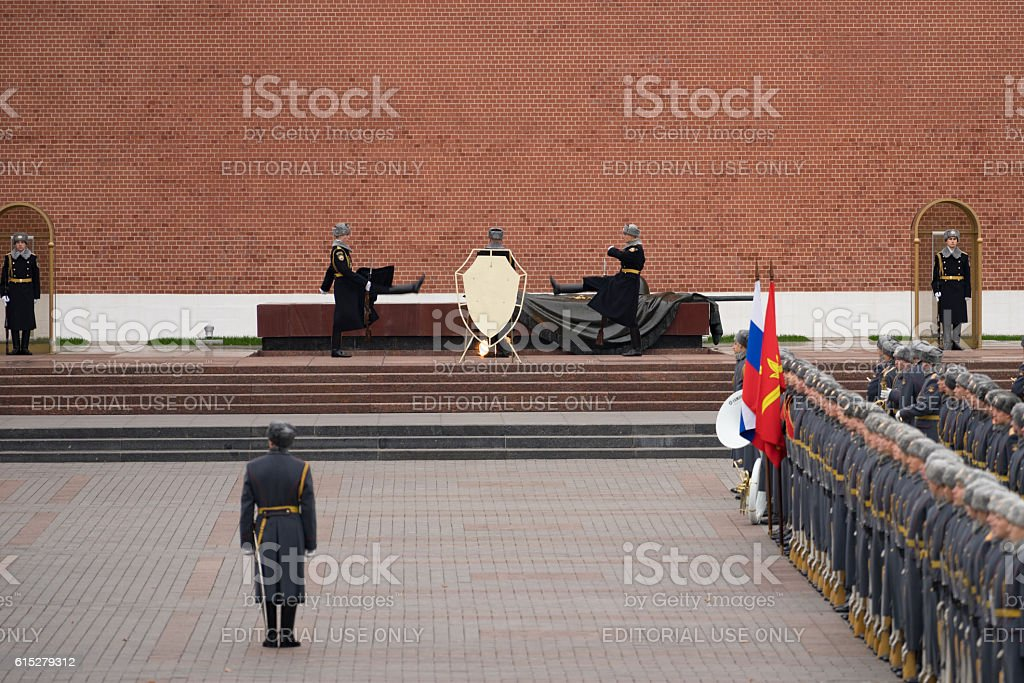 Russian troops marching to the Tomb of the Unknown Soldier stock photo