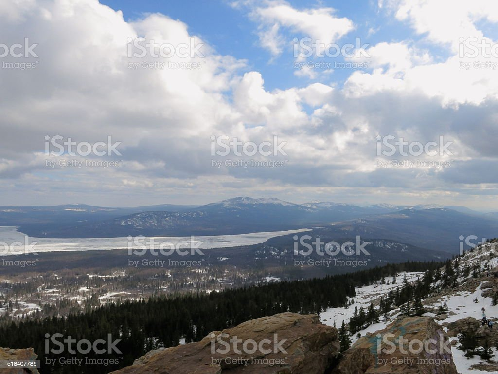 Russian Ural Mountains clouds lake stock photo