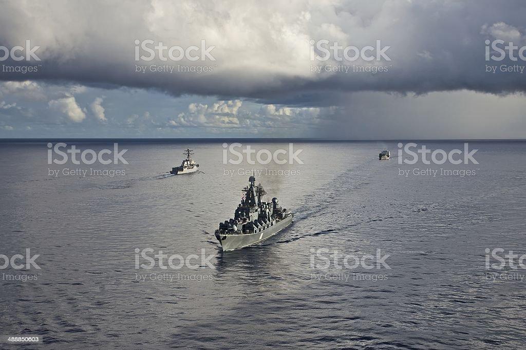 Russian Varyag Cruiser stock photo