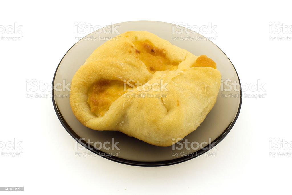 Russian vatrushka pie on a plate, isolated royalty-free stock photo