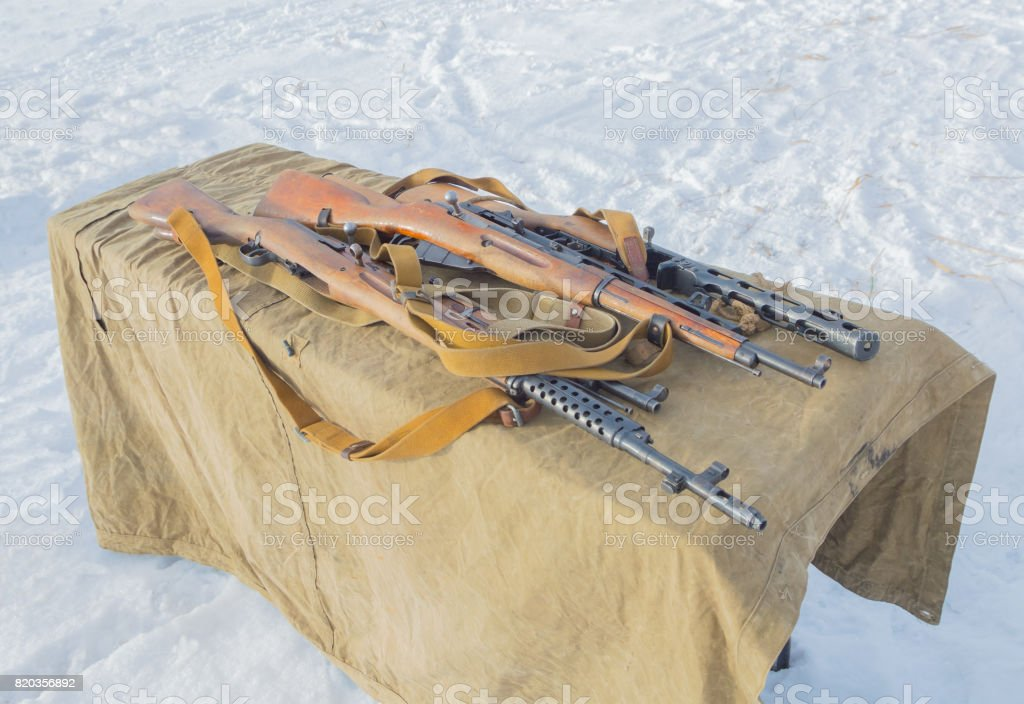 Russian weapons during the second world war on the table stock photo
