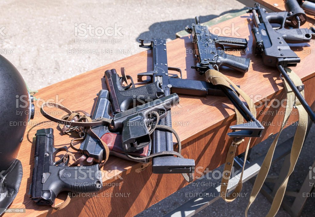 Russian weapons. Samples of Russian small arms stock photo