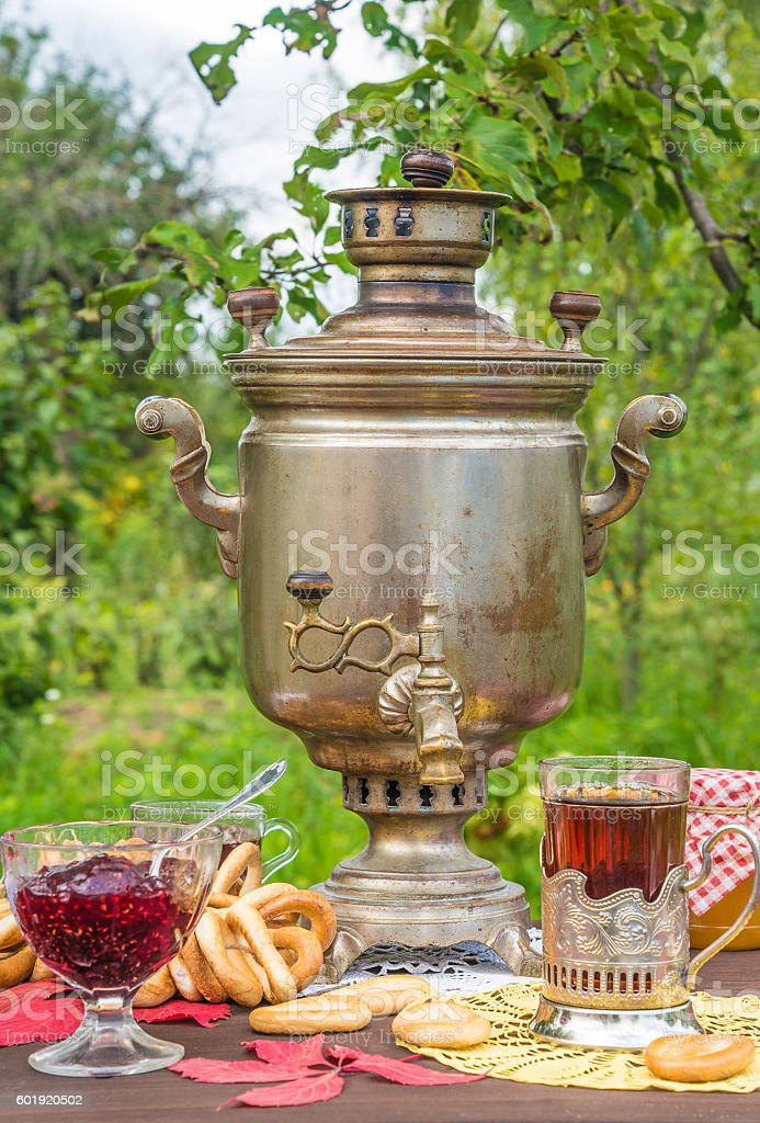 Russian wood-burning samovar stock photo