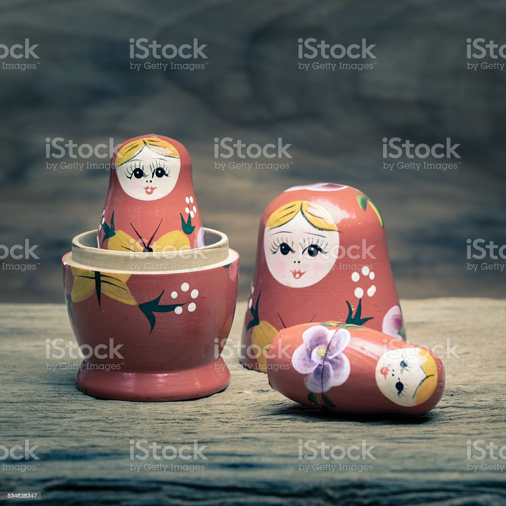 Russian wooden doll stock photo