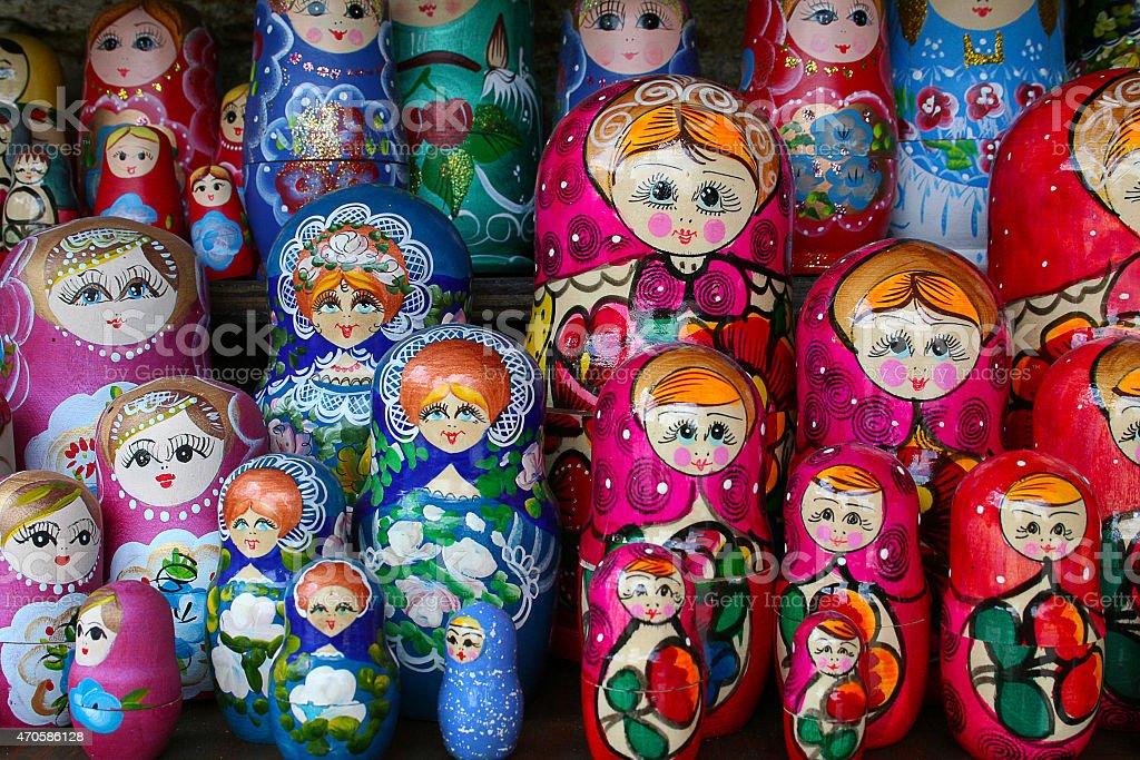 Russian wooden dolls - Matrioshka stock photo