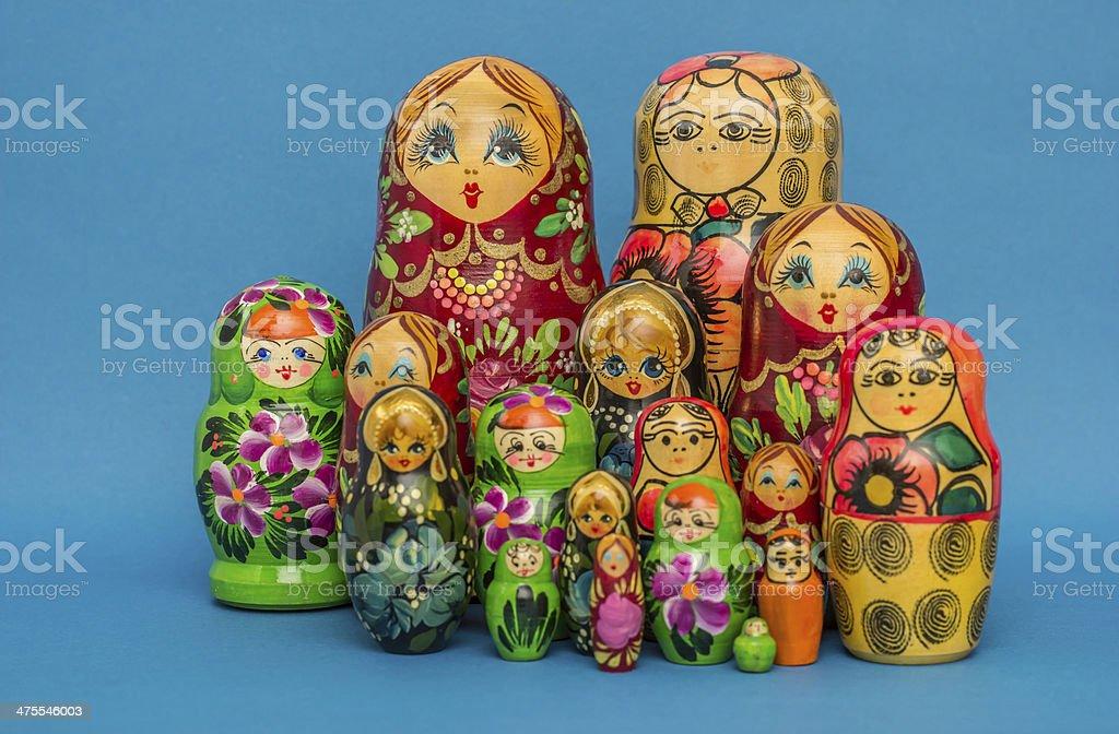 Russian wooden nesting dolls stock photo