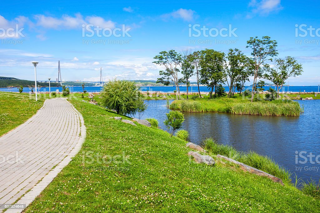 Russky island near Vladivostok stock photo