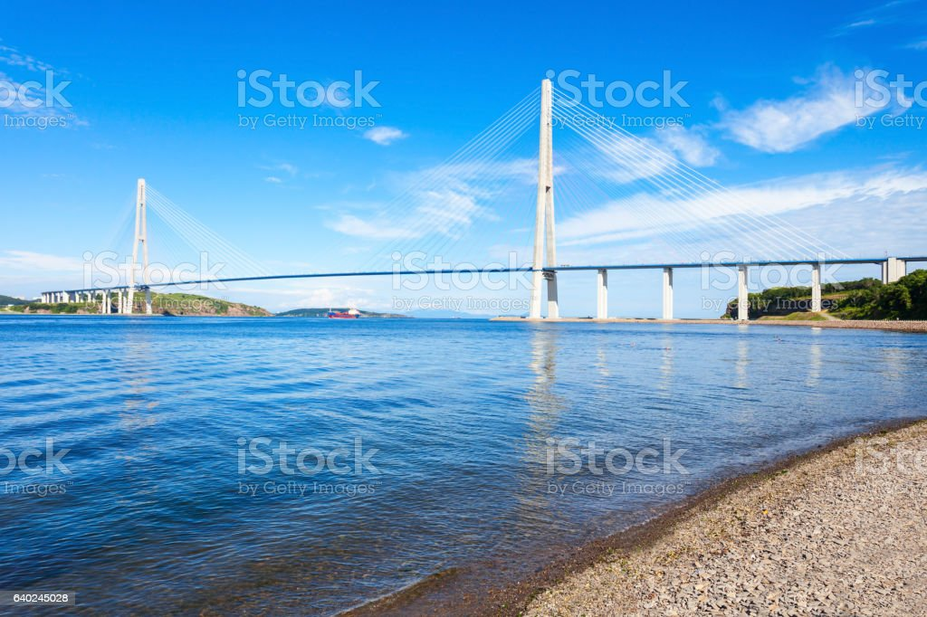 Russky Russian Bridge, Vladivostok stock photo