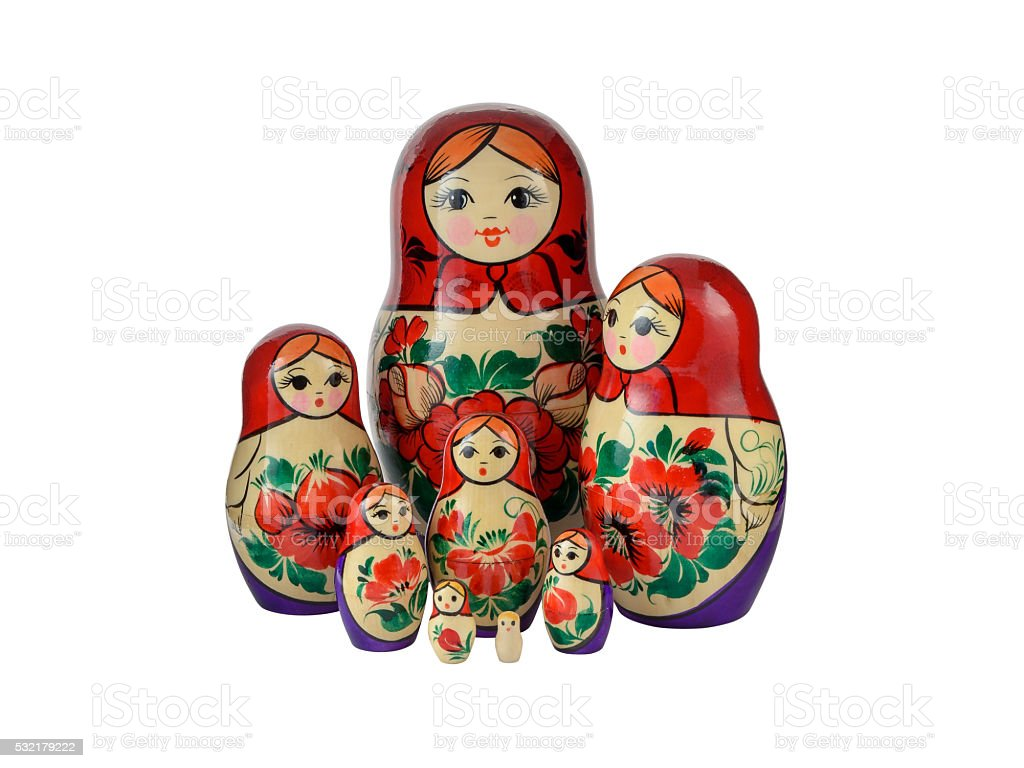 Russsian nested dolls set on a white background stock photo