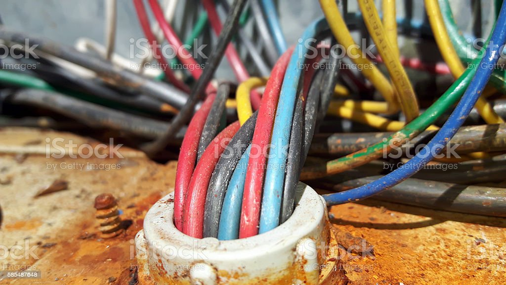 Rust and Electrical wiring stock photo