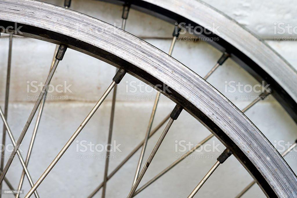 Rust bicycle wheel stock photo