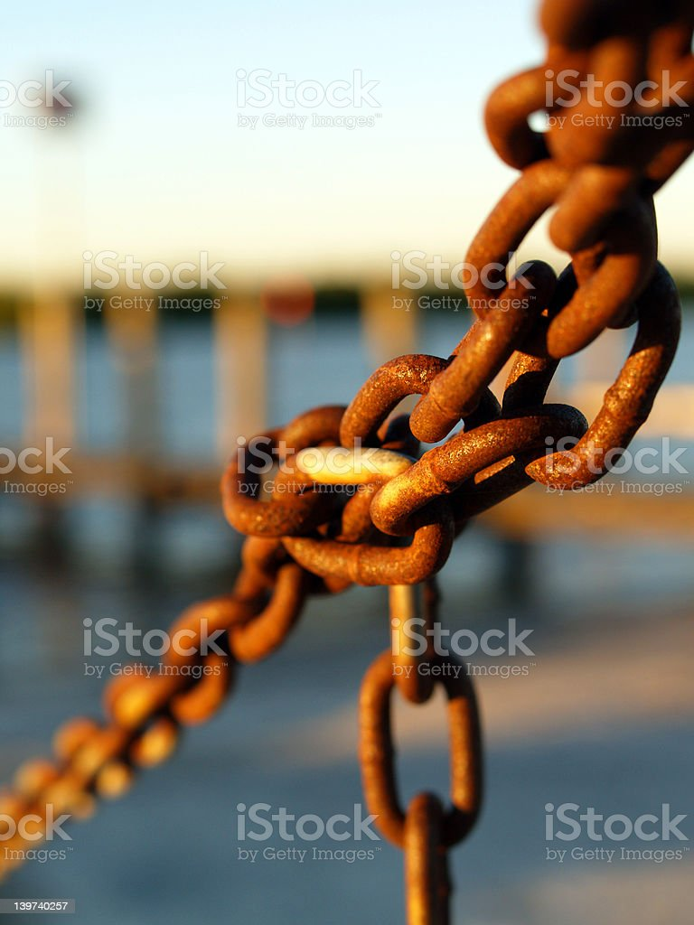 Rust chain (focus on center links) royalty-free stock photo