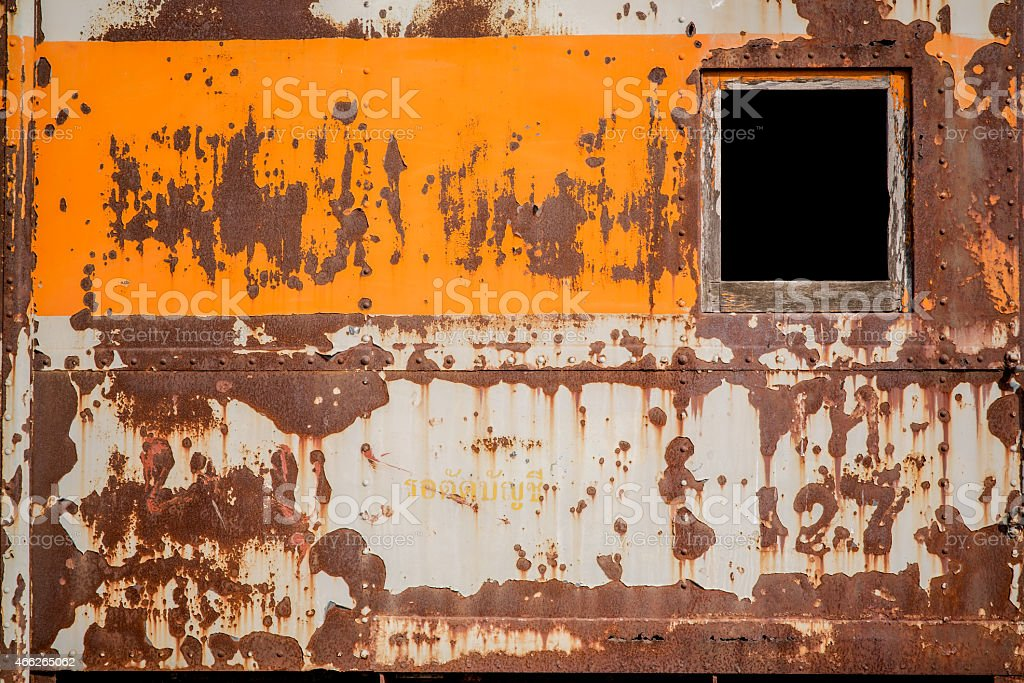 Rust metal wall from the old train container background stock photo