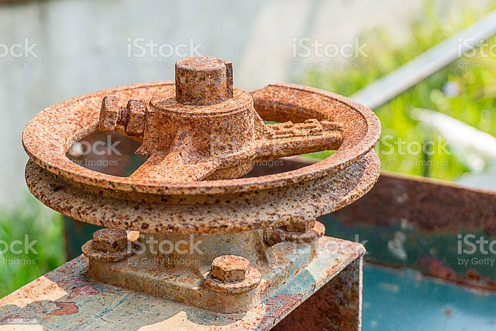 rust pipeline valve stock photo