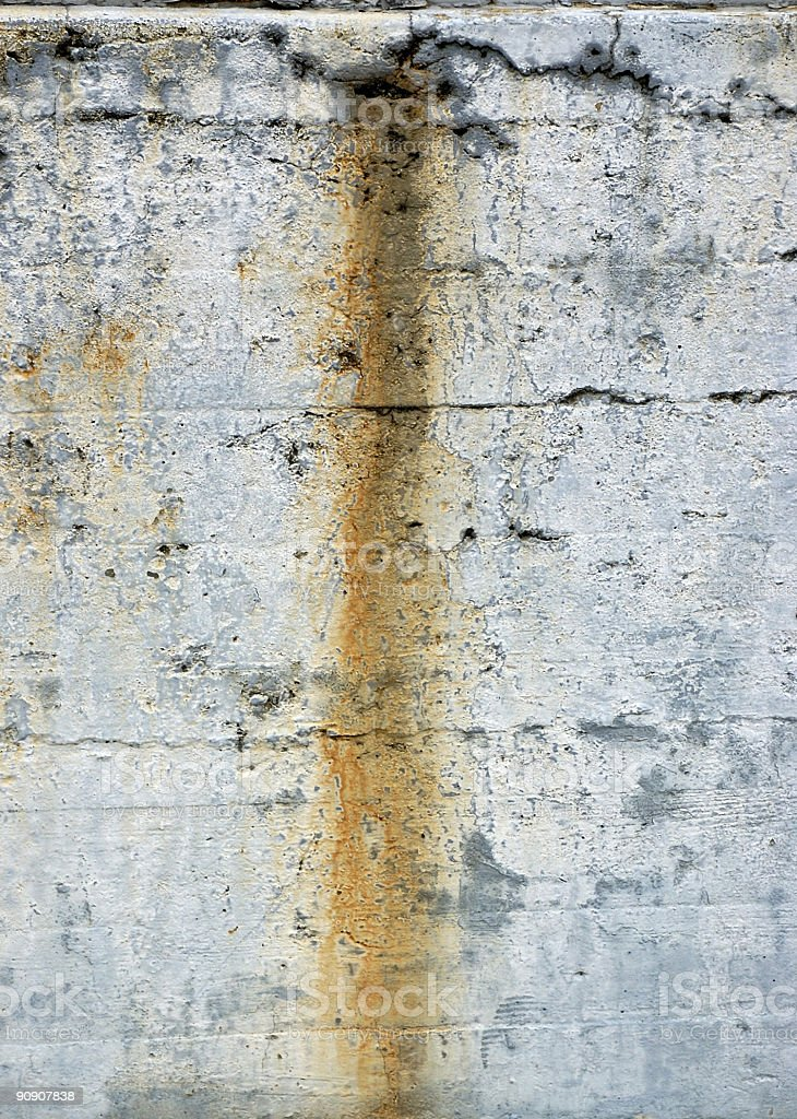 rust stain on concrete wall royalty-free stock photo
