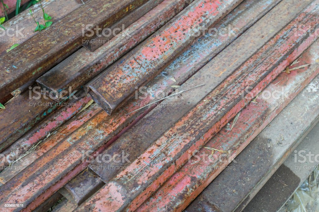 Rust steel member for raw material of steel stock photo