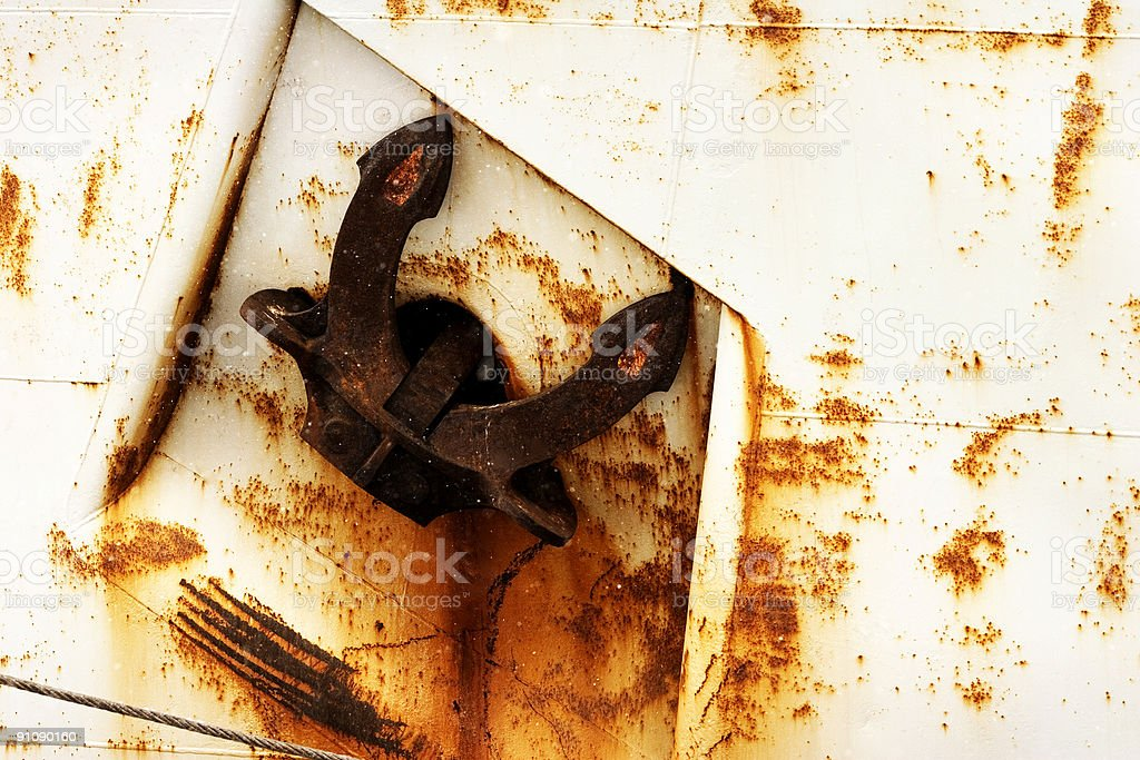 Rusted Anchor On Ship royalty-free stock photo