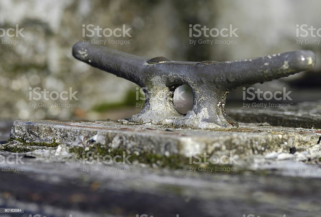 Rusted boat fitting stock photo
