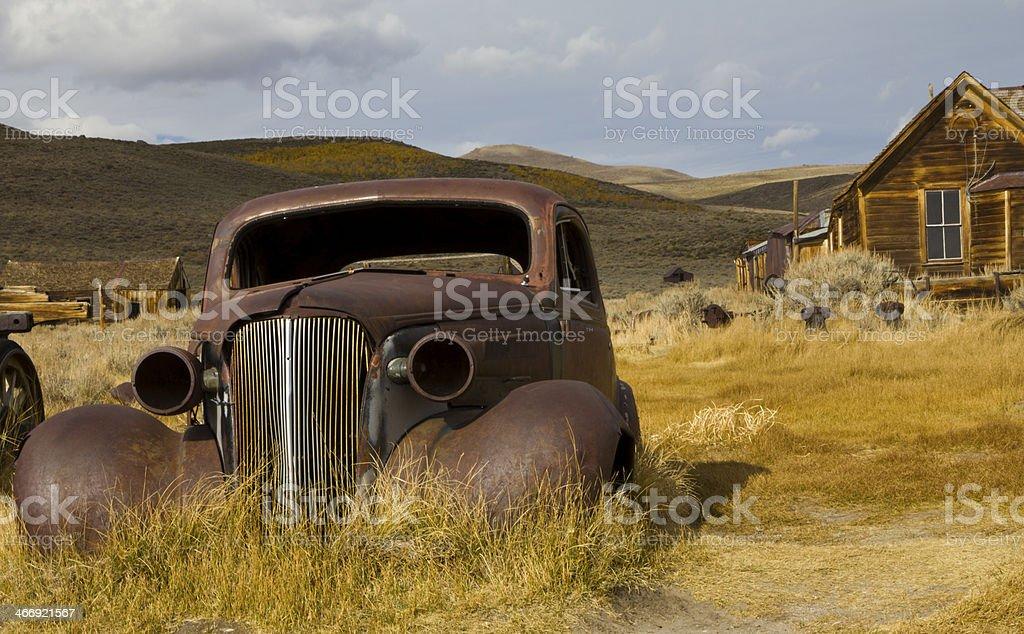 Rusted Car In Desert stock photo