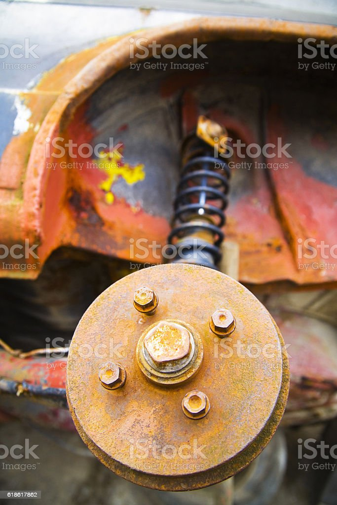 Rusted car parts stock photo