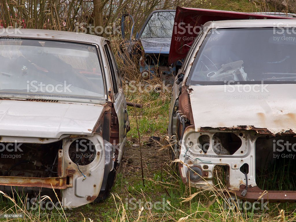 rusted carwrecks stock photo