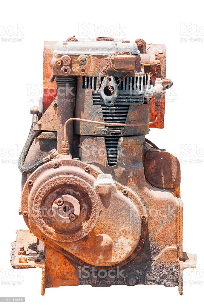 rusted engine, cut out on white background stock photo