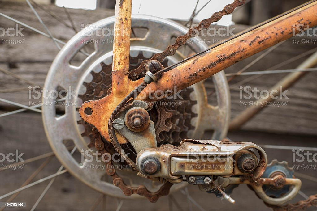 Rusted Gears on a Neglected Bike stock photo