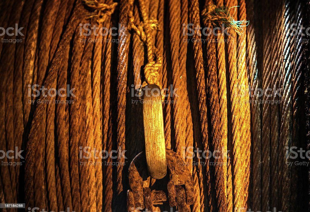 Rusted metal cables on ship royalty-free stock photo