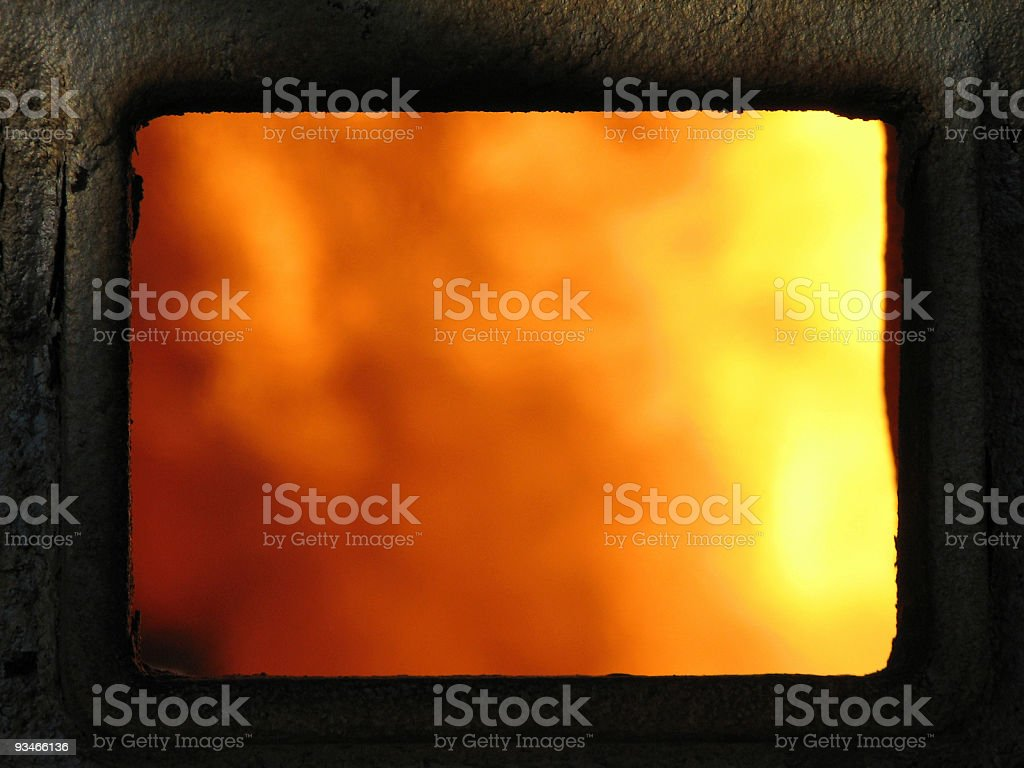 Rusted metal frame, framing fire stock photo