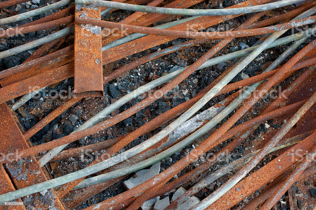 rusted metal rods stock photo