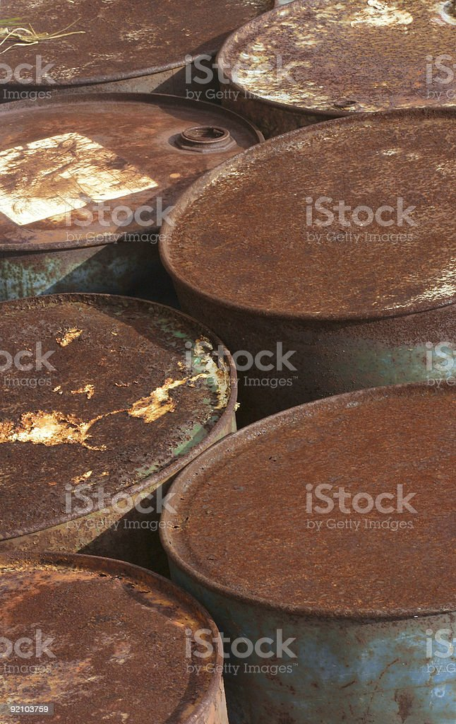 Rusted Oil Barrels royalty-free stock photo