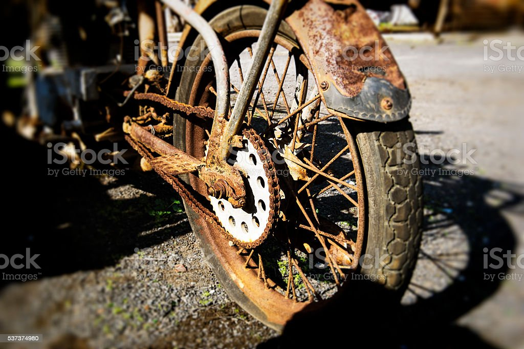 Rusted old mortorcycle stock photo