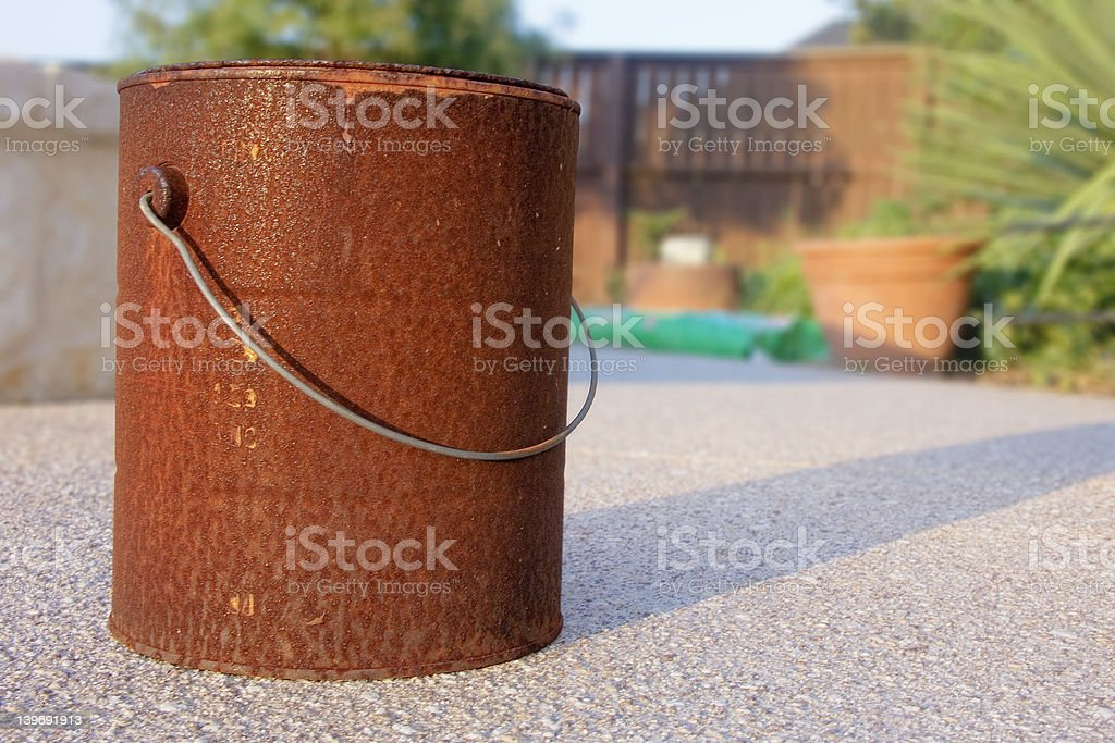 rusted paint bucket stock photo
