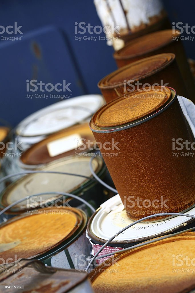 Rusted Paint Cans royalty-free stock photo