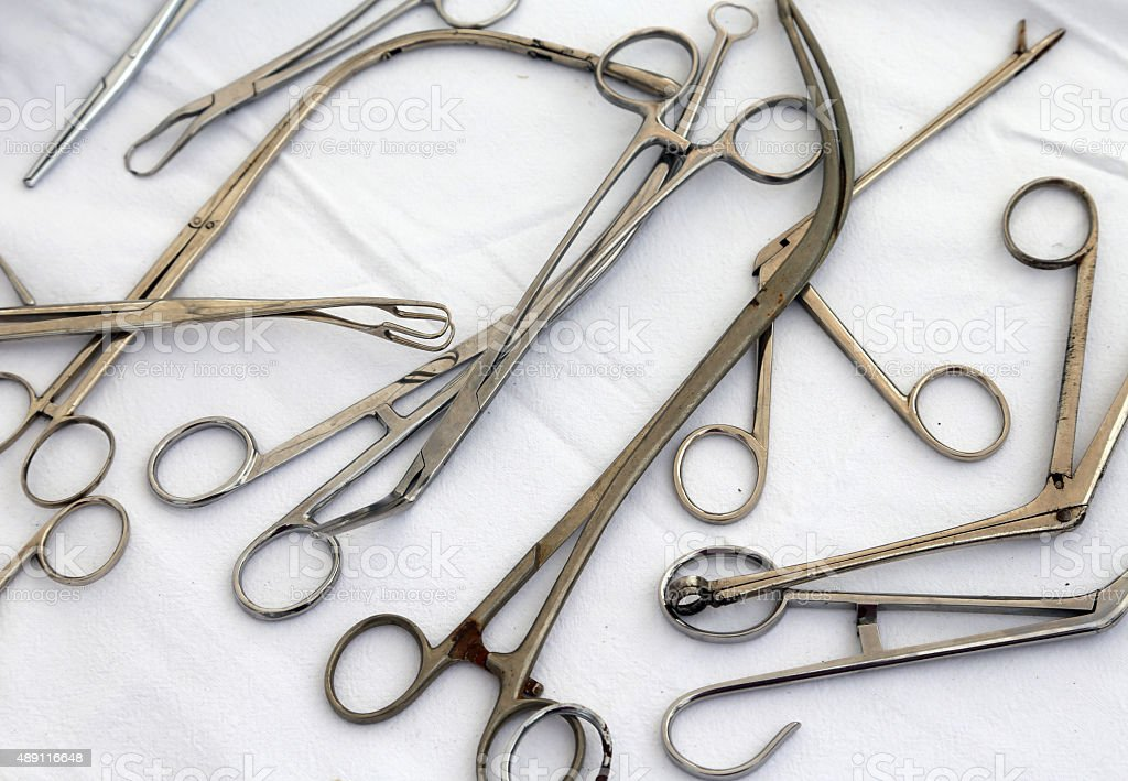 rusted pliers scissors and other ancient medical instruments stock photo