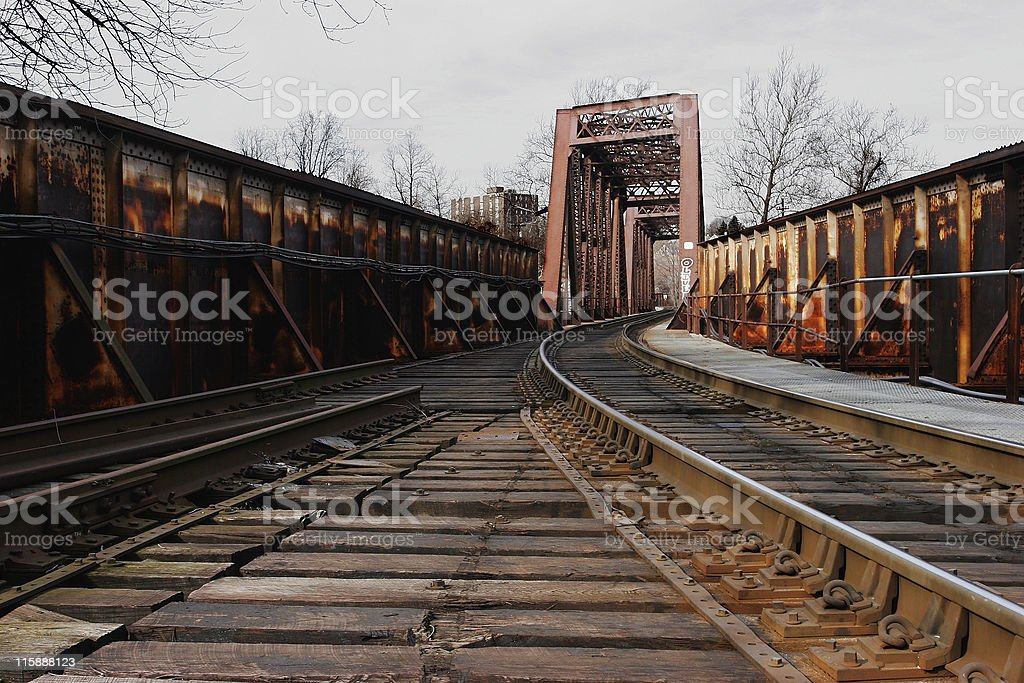 Rusted Railroad Bridge stock photo