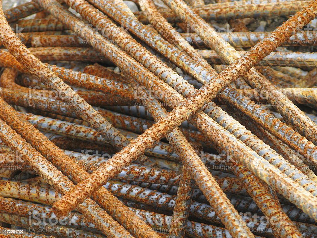 Rusted Rebar Group Close Up stock photo