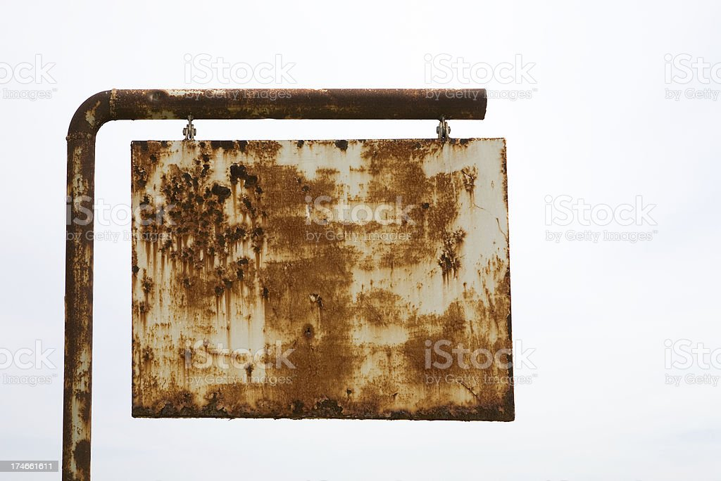 Rusted road sign stock photo